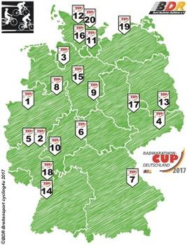 Die Austragungsorte des Radmarathon-Cup sind quer durch Deutschland verteilt. Grafik: BDR