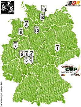 Die Stationen des Country-Cup Deutschland 2017. Grafik: BDR
