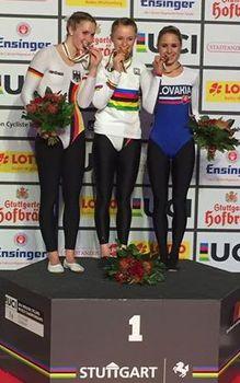 Lisa Hattemer hat das erste Gold für den BDR bei der Hallen-WM in Stuttgart geholt. Foto: facebook.com/UCI Indoor Cycling World Championships Stuttgart 2016