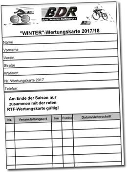 Breitensport: Winter-Wertungskarte 2017/2018 online abrufbar
