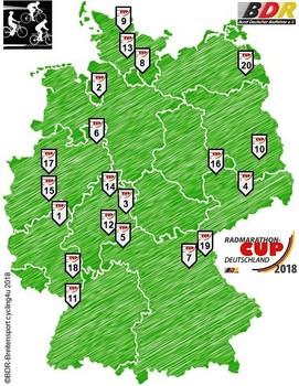 Der Radmarathon-Cup umfasst zu seiner 29. Austragung 20 Termine. Graphik: Kommission Breitensport im BDR