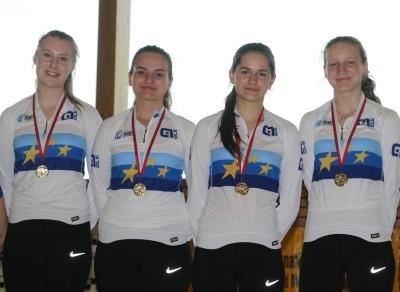 Die 4er Europameisterinnen des RMSV Aach (v.l.: Sabrina Bürßner, Alina Bötzer, Stefanie Müller und Franziska Bötzer) sicherten sich auch den Bodenseemeistertitel. Foto: Wilfried Schwarz