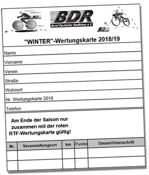 Breitensport: Winter-Wertungskarte 2018/2019 online abrufbar