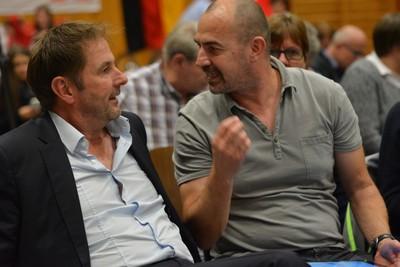 Bundestrainer Dieter Maute (re.) im Gespräch mit BDR-Vize-Präsident Harry Bodmer. Foto: BDR