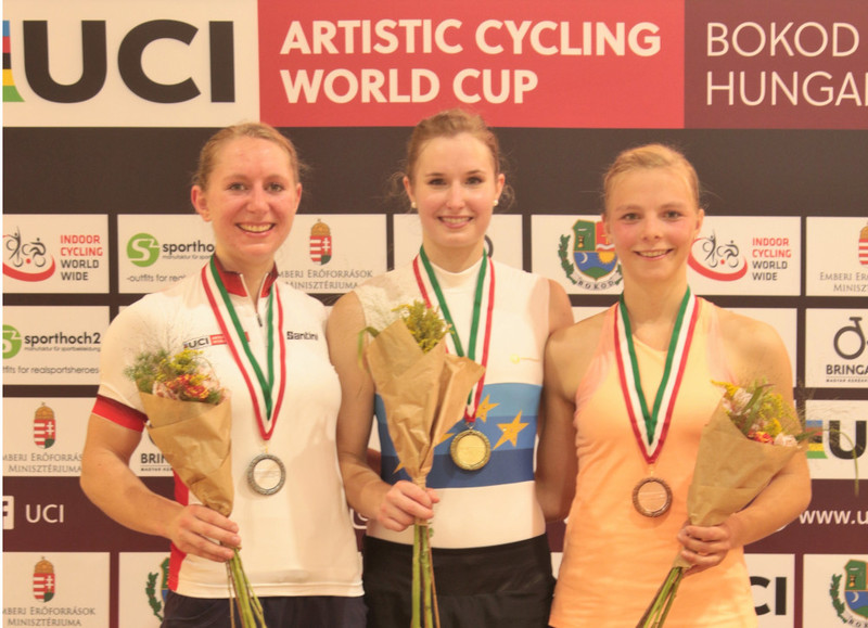 Europameisterin Viola Brand (Mitte) gewann in Bokod im 1er der Frauen vor der Weltcup-Führenden Milena Slupina (li.) und Mattea Eckstein. Foto: Wilfried Schwarz