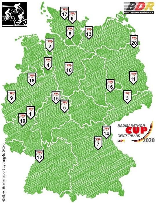 Die Stationen des Radmarathon-Cups Deutschland 2020. Grafik: BDR