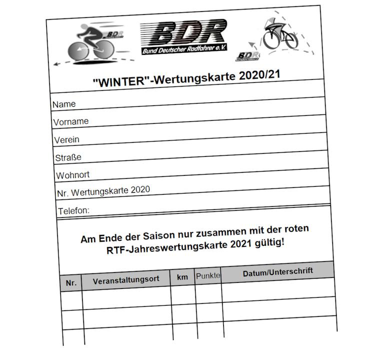 Am Wochenende Start der Winter-Saison der Breitenradsportler - Winter-Wertungskarte online