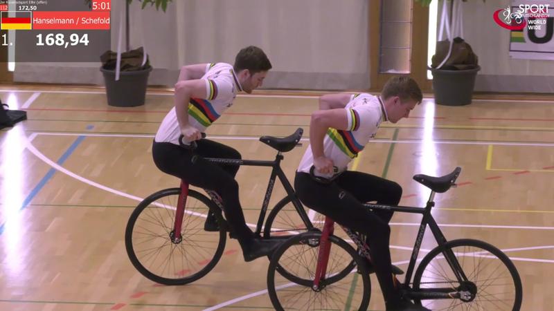 Max Hanselmann (re.) und Serafin Schefold fuhren in Uzwil Weltrekord. Foto: Screenshot/Sportdeutschland.tv